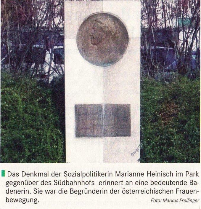 Marianne Heinisch Denkmal in Baden bei Wien
