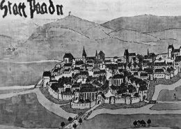 Die Stadt Baden in einer zeitgenössischen Darstellung 1482 (Foto: wikimedia commons)